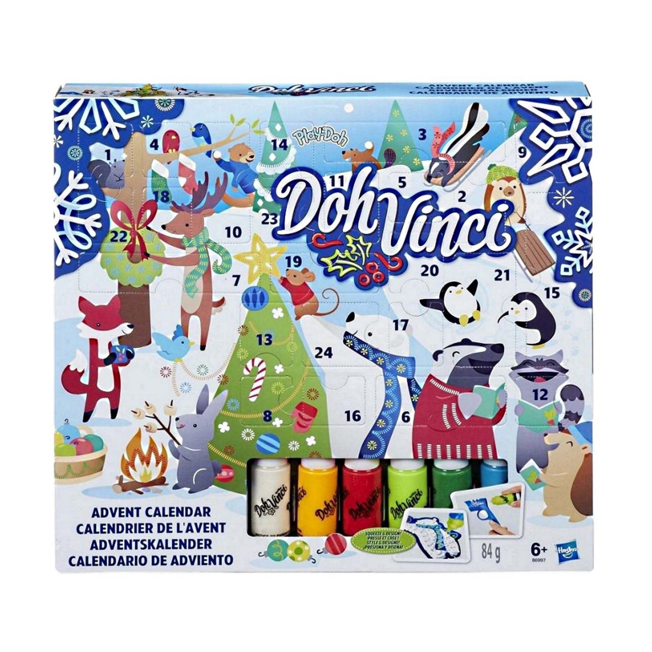 Hasbro Play-Doh Doh Vinci Advent Calendar – Fun Countdown to Christmas, Design and Display in 3D