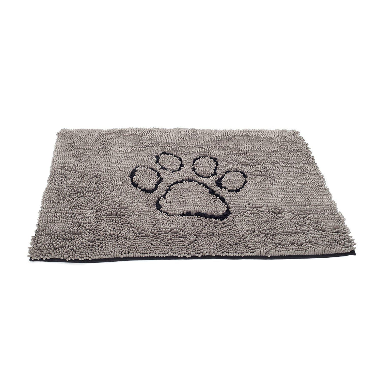 FELICIA SHARKEY Chenille Anti-Slip pet pad Microfiber Dog Door mat (Medium(19.7in x31.5in), Gray and Black)