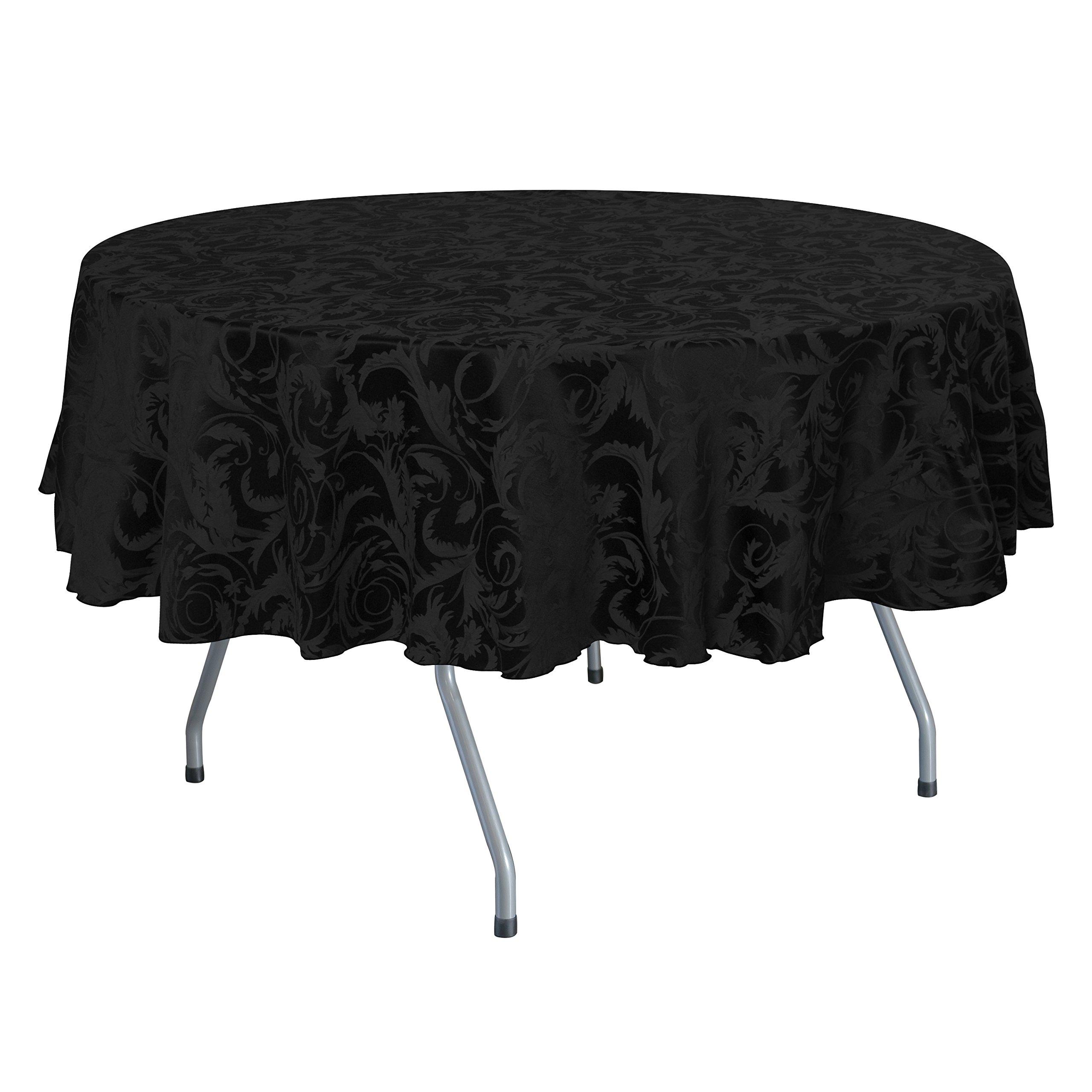 Ultimate Textile (5 Pack) Damask Melrose 60 x 120 Inch Oval Tablecloth - Home Dining Collection - Floral Leaf Scroll Jacquard Design, Black