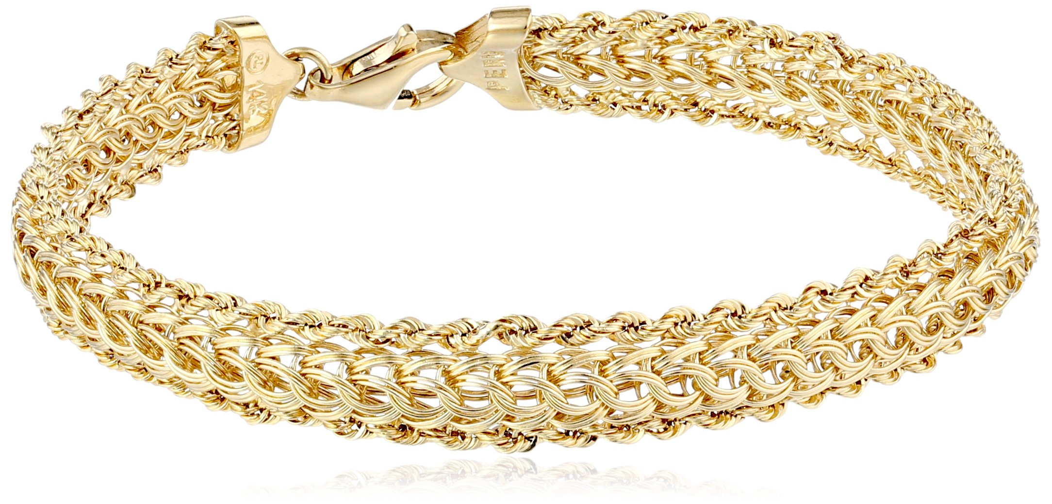 14K Yellow Gold Braided Rope Bracelet, 7.25''