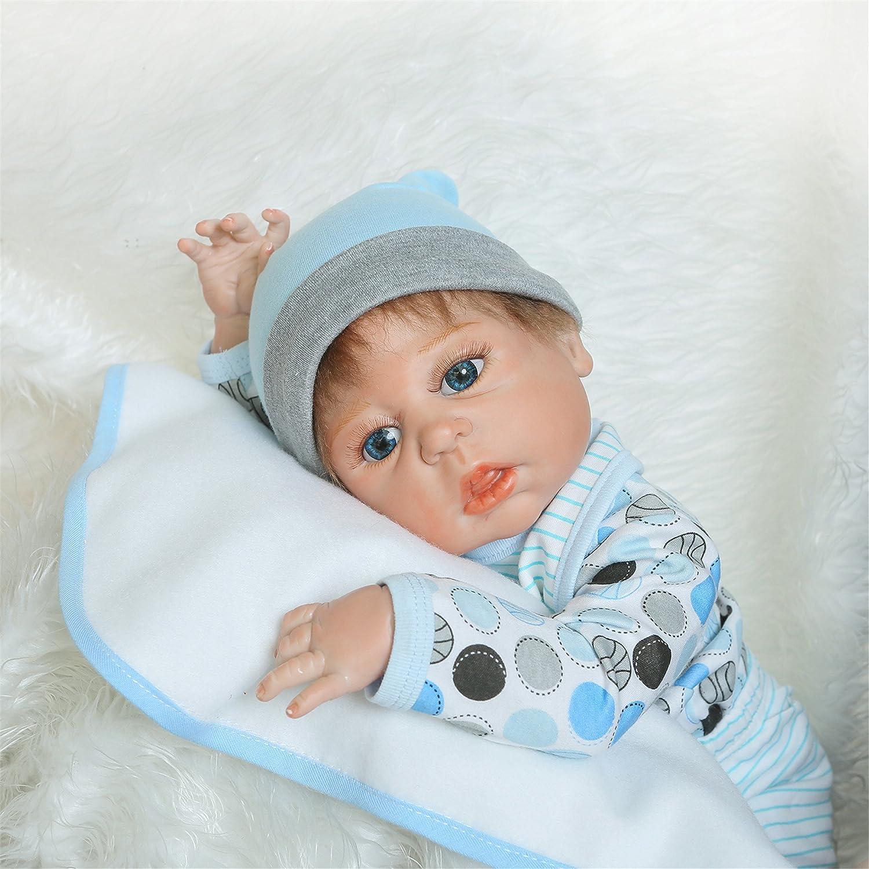 NPK Collection Silicone morbido Bambola Reborn baby 22inch 55 centimetri magnetica Bocca bella realistica Bel regalo di capezzolo realistica giocattolo