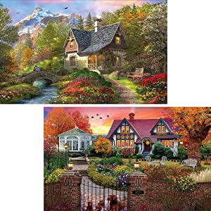 Yomiie 2 Pack 5D Diamond Painting Village Cottage Full Drill by Number Kits, Tree Spring Autumn Bird Landscape Paint with Diamonds Art Crystal Rhinestone Embroidery Craft Decor (12x16inch)
