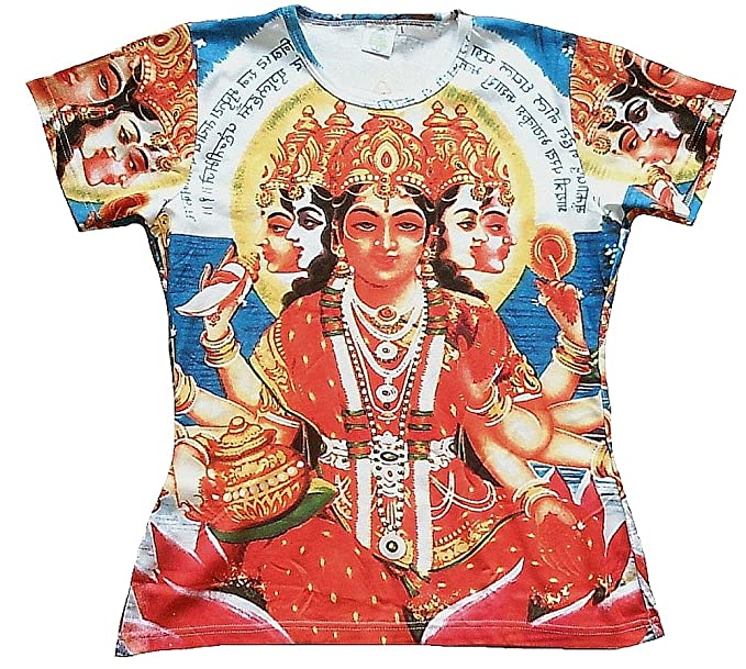 TICILA – Camiseta de Mujer Rojo Azul Hindú Diosa God Gay Uno Mata Mantra Psychodelic Goa