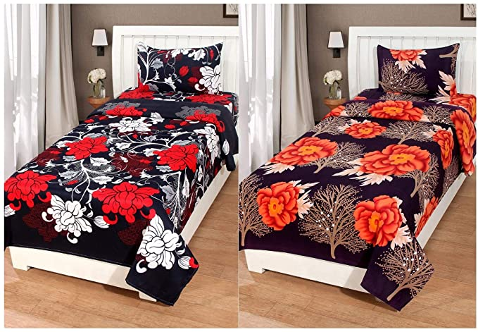 RAMPART Cotton Single Size Combo Set of 2 Bedsheet and 2 Pillow Covers (60x90-inch, Multicolour)