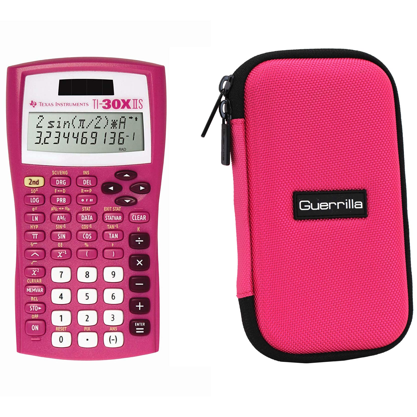 Texas Instruments TI-30XIIS Scientific Calculator + Guerrilla Zipper Case, for Extra Protection & Easy Storing (Pink) by Texas Instruments