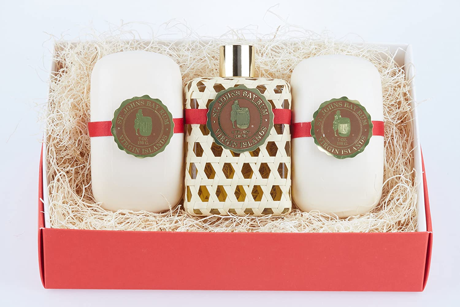 Bay Rum by St Johns 3 Piece Mens Gift Set. One 4 Oz Bay Rum Aftershave Splash/Cologne and 2 Bay Rum Luxury Bath Soap Bars For Men. Handcrafted in U.S.V.I with Premium Bay Leaf Oils, Caribbean Spice.