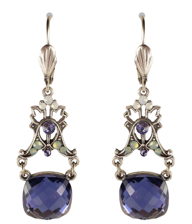 Anne Koplik Designs Antique Finish Vintage Inspired Blue-Purple Drop Earrings ES8274TAZ