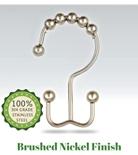 Curtains Ideas brushed nickel shower curtain hooks : Amazon.com: Maytex Mills Metal Double Glide Shower Ring, Brushed ...