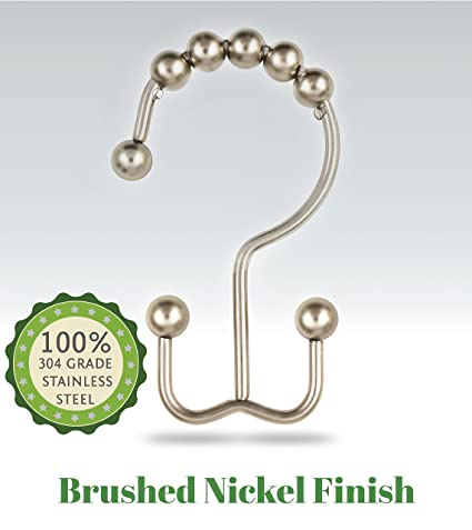 THE DOUBLE HOOK Premium Quality Double Shower Curtain Hooks, 100% Rustproof  BRUSHED Nickel 304