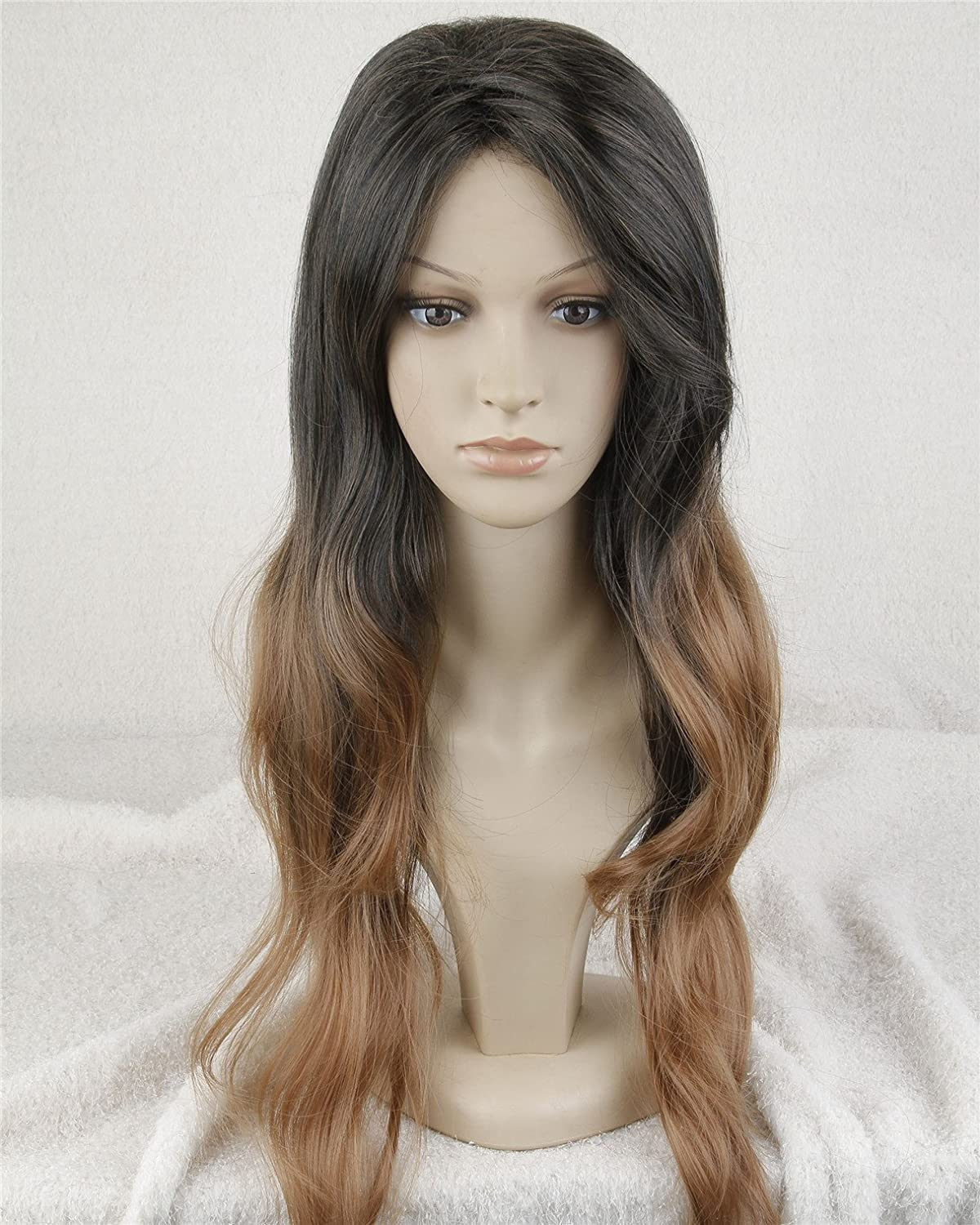 Superwigy® Long Two Tone Black and Brown Ombre Wigs Celebrity Wig for Women Big Wave Female Wavy Wig Heat Resistant