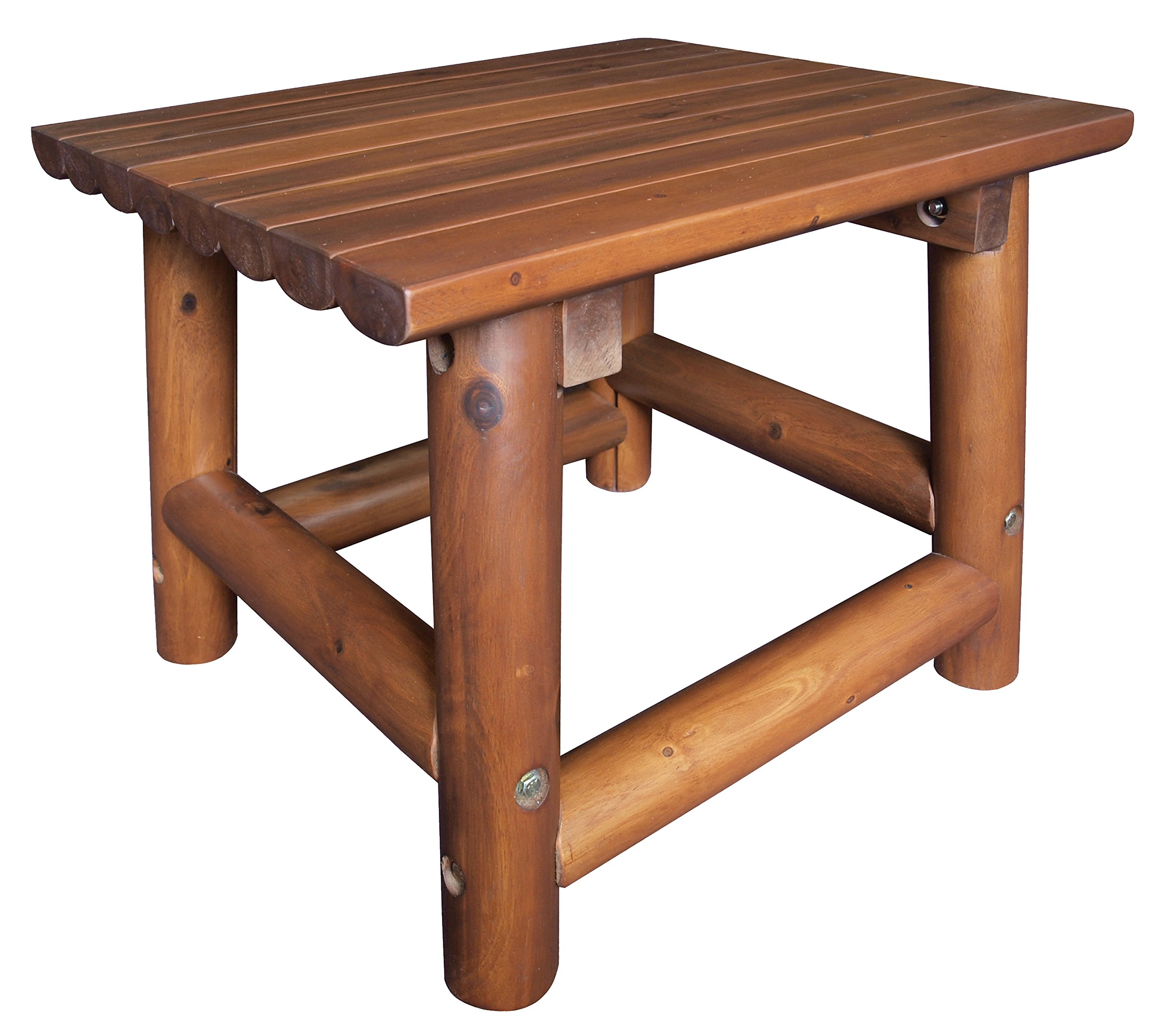 Leigh Country TX 36010 Amberlog End Table Outdoor/Patio Furniture - Made of hardwood acacia Sealed with a clear coat Some assembly required - patio-tables, patio-furniture, patio - 81yDuSCGMtL -