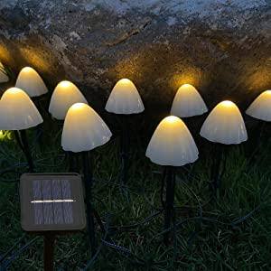 Kagoohan24feet12LEDOutdoorSolarStringMini MushroomLights 8Modes GardenPatioYardLandscapePartyLawn PathwayWeddingHomeChristmasHolidays (Warm White)