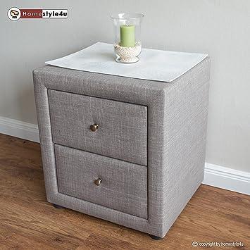 Toll Homestyle4u Nachttisch Schlafzimmer Nachttisch Beistelltisch Stoff, Grau,  Single