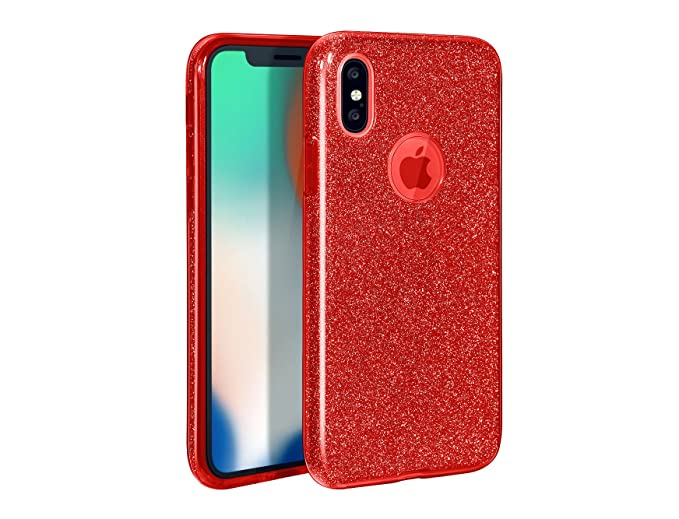 new product e809d 629a8 iPhone X Case Shiny Non-slip Protective Cover Glitter 3 Layers Shockproof  Hard PC/TPU with iPhone X Tempered Glass Screen Protector for Apple iPhone  ...