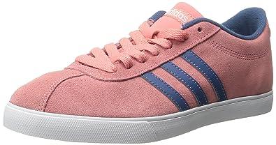 adidas neo women's courtset w scarpa, una rosa blu / grigio cenere