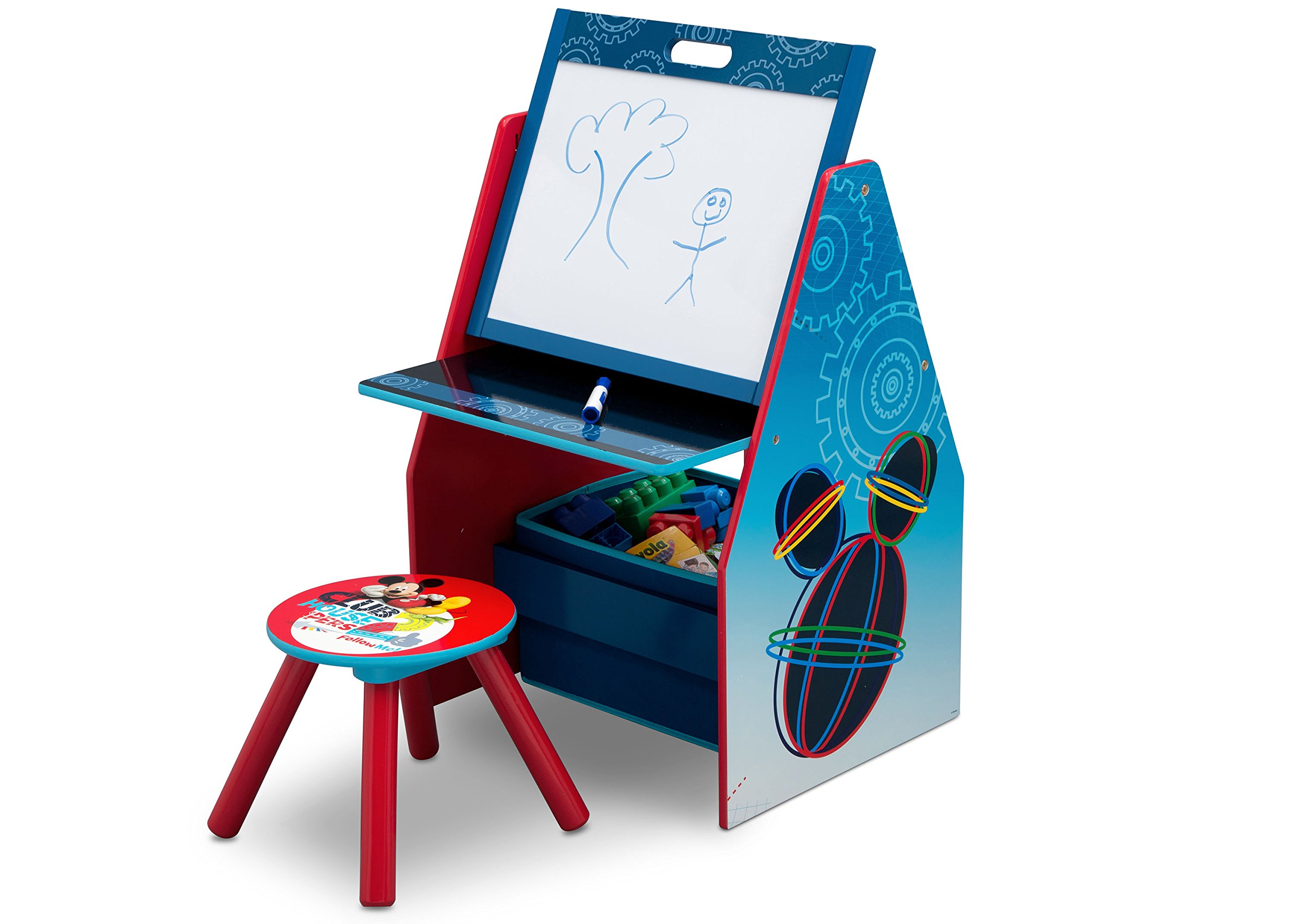 Delta Children Activity Center with Easel Desk, Stool, Toy Organizer, Disney Mickey Mouse by Delta Children