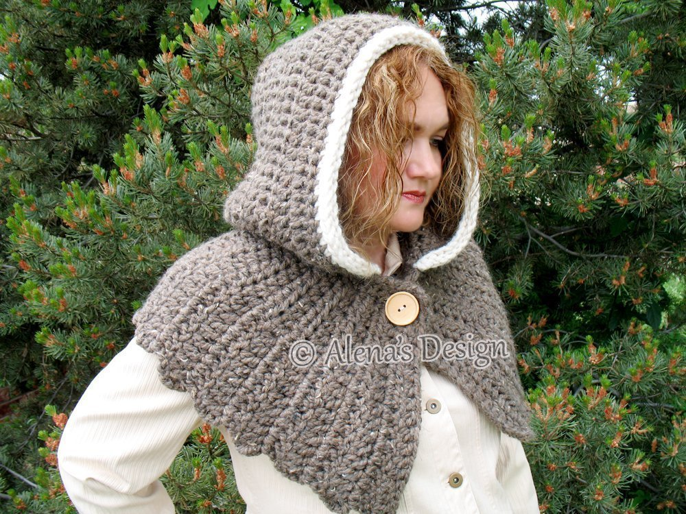 Crochet Hooded Cowl with Wood Button Fastening - Women Cowl - Round Back Hood - Ladies Winter Neck Warmer - Hooded Scarf Adult by AlenasDesign