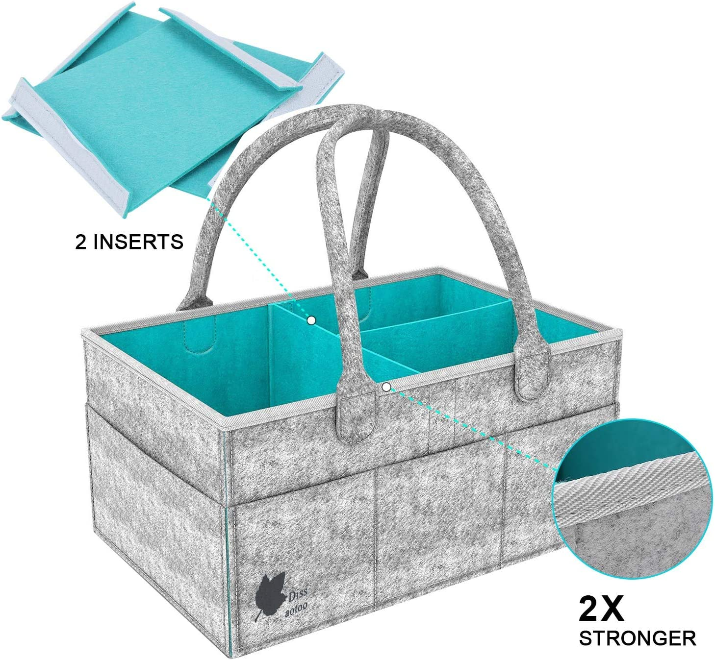 Baby Diaper Caddy Portable Nursery Storage Bin Car Organizer With Changeable Compartments Nappy Bags Insert Organizer Storage for Diapers and Baby Wipes