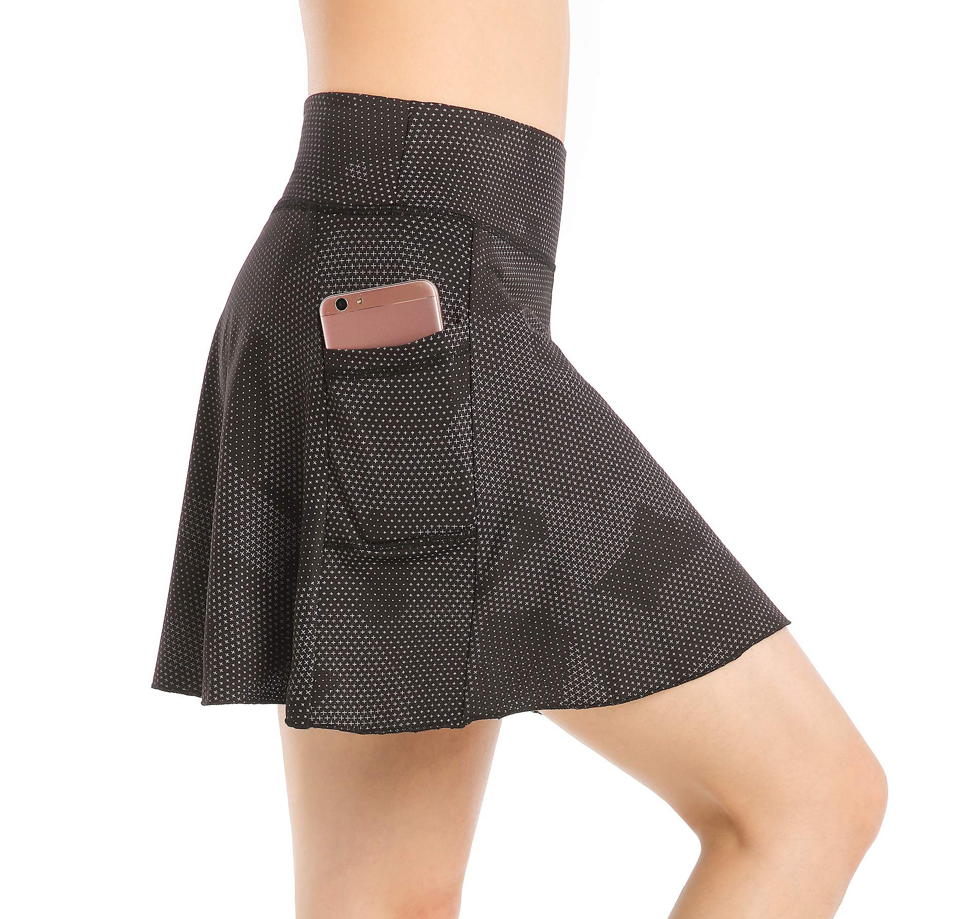 EAST HONG Women's Golf Skort Tennis Running Workout Skort (L, Star Point Black) by EAST HONG