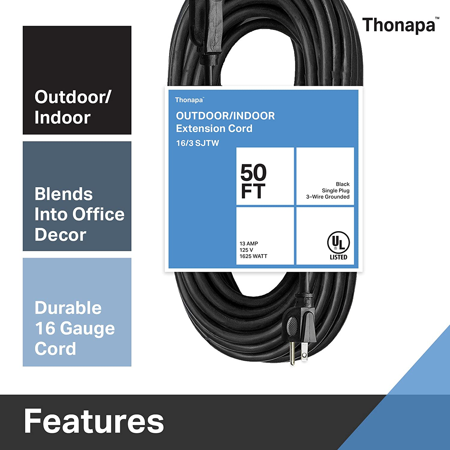 Thonapa 10 Ft Black Extension Cord 16//3 Electrical Cable with 3 Prong Grounded Plug for Safety TH-163B10