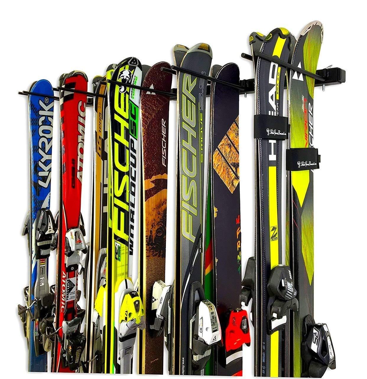 StoreYourBoard Omni Ski and Snowboard Wall Storage Rack | Holds 10 Pairs | Ski Wall Mount Home & Garage Storage Hanger