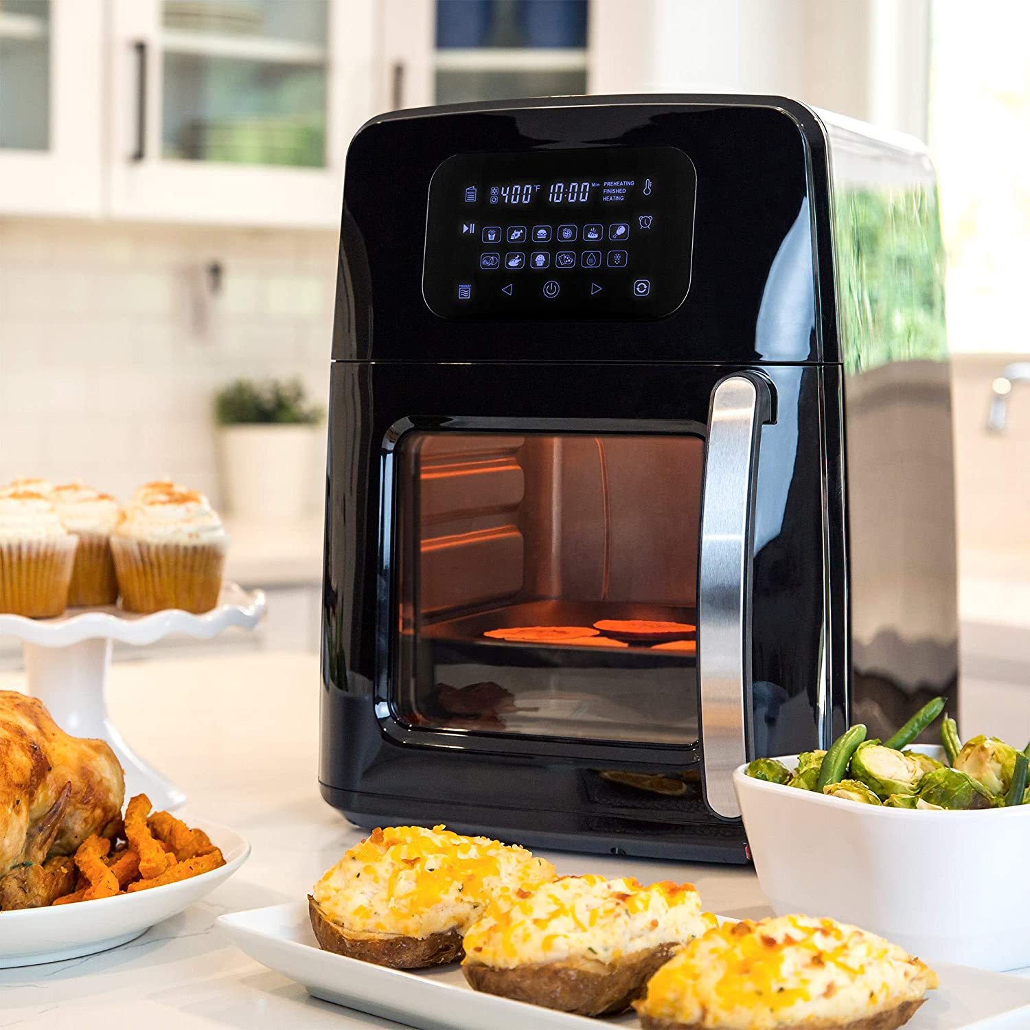 Amazon Com Best Choice Products 12 4qt 1700w 12 In 1 Programmable Electric Xl Air Fryer Oven Rotisserie Dehydrator Cooking Set W 7 Accessories Led Touchscreen Viewing Window Overheat Protection Kitchen Dining