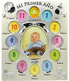 Marco de fotos metálico infantil Portafotos de aluminio para bebé nacimiento 12 meses de 4 x