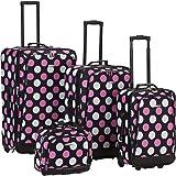 Rockland Escape 4-Piece Softside Upright Luggage Set, Multi/Pink Dot, (14/19/24/28)