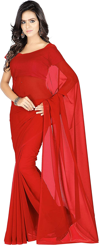 KoC Women wear Georgette Chiffon Plain Saree for Wedding Party with Blouse Piece