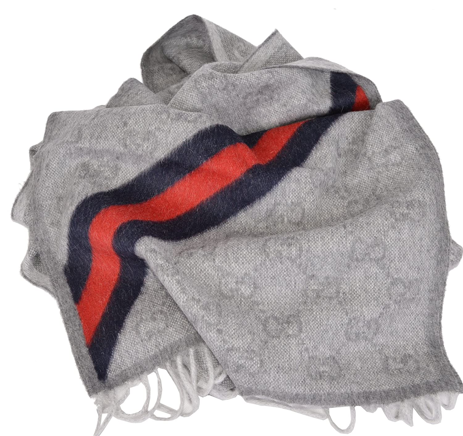 0ee650f5e Gucci Light Grey Wool Angora Blue Red Web GG Guccissima Scarf   Amazon.co.uk  Clothing
