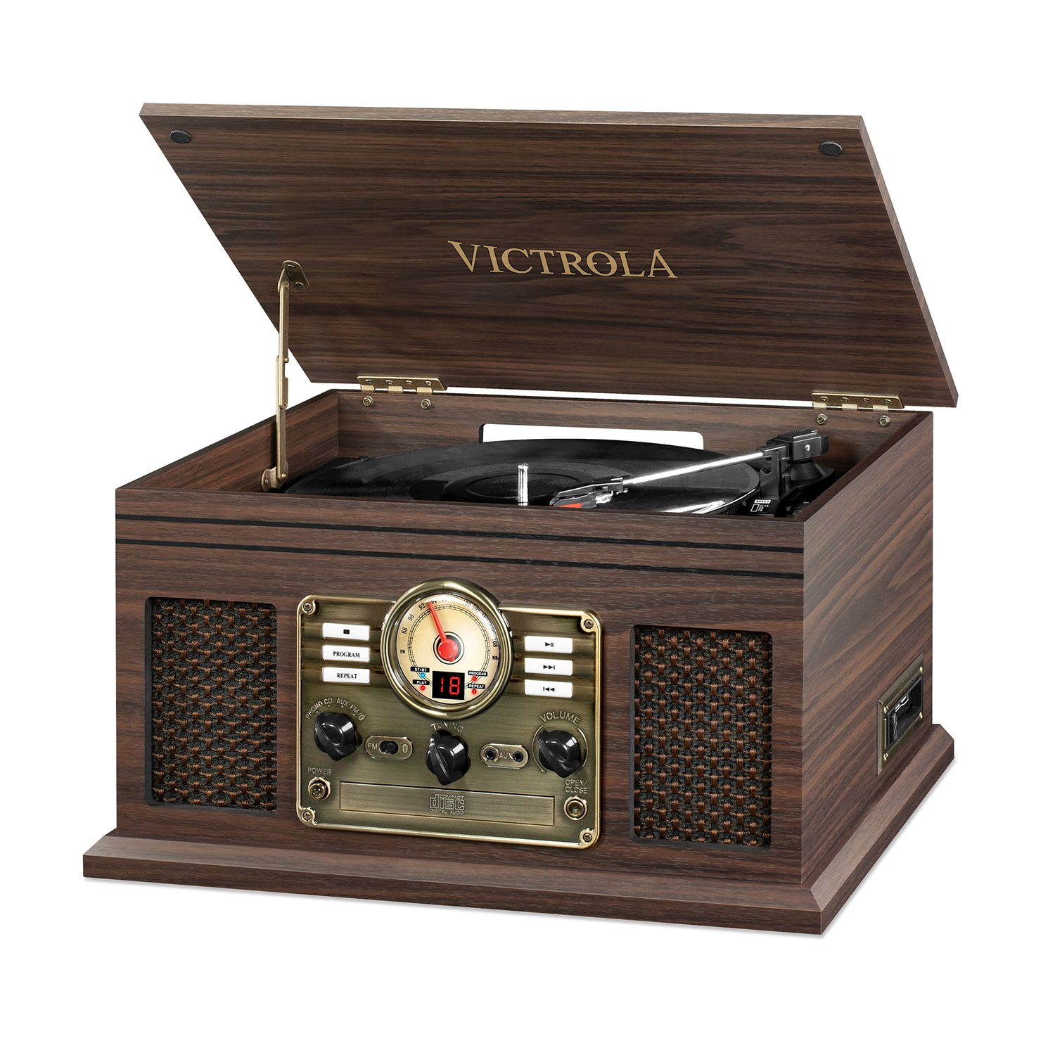 Victrola Nostalgic Classic Wood 6-in-1 Bluetooth Turntable Entertainment Center, Espresso by Victrola
