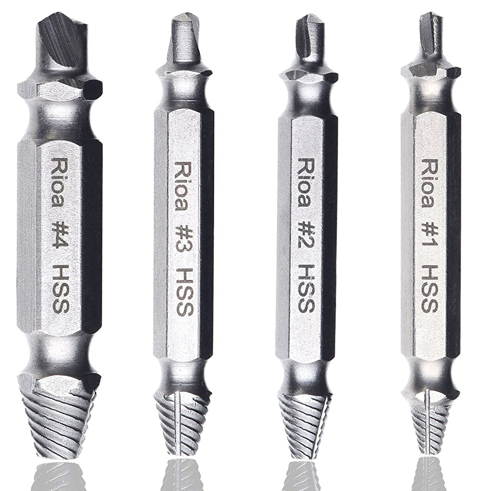 Rioa Damaged Screw Remover Set. Damaged Screw and Bolt Exctractor Set Easily Remove Stripped or Damaged Screws. Made From H.S.S. 4341#, the Hardness Is 62-63hrc Review