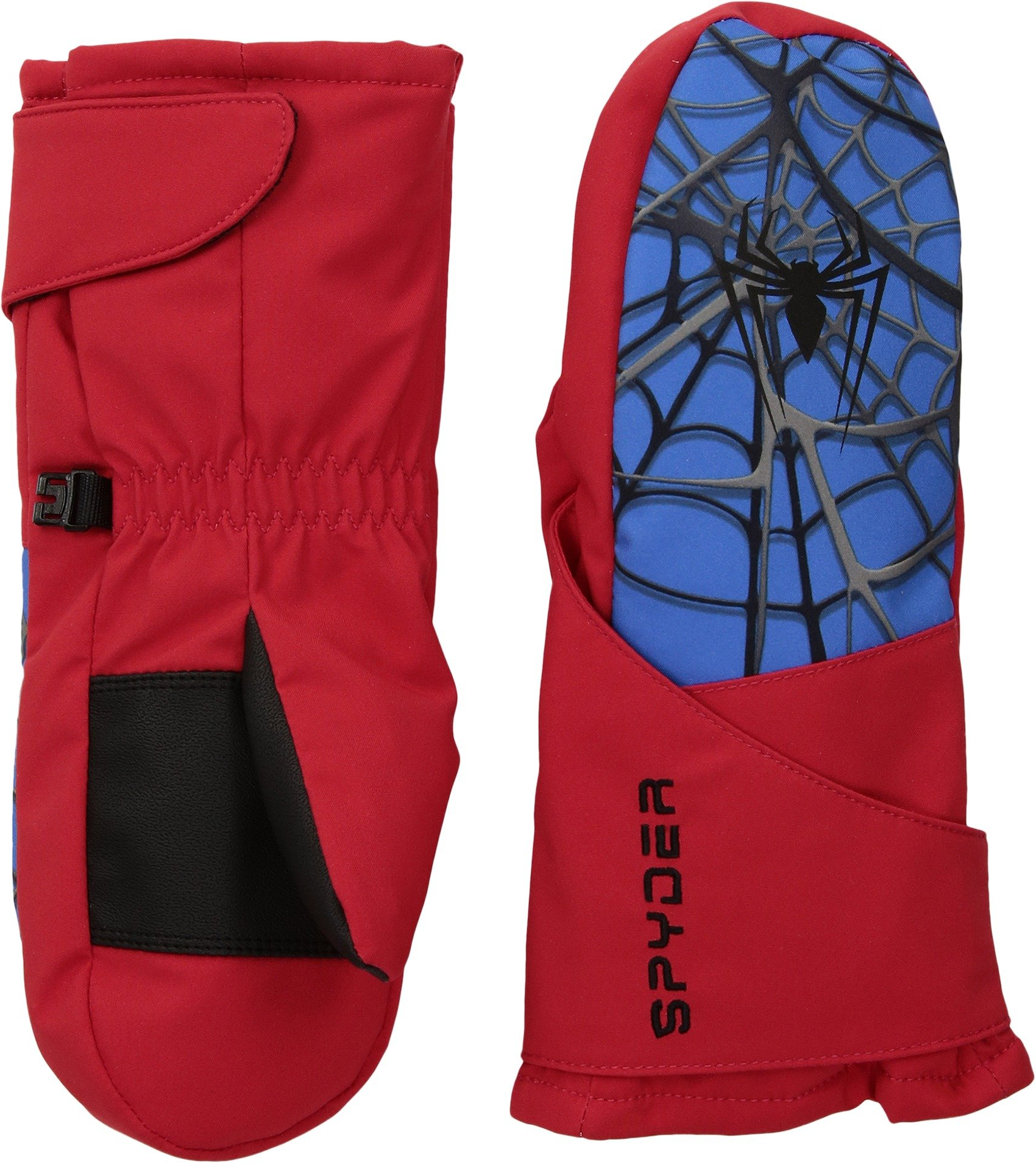 Spyder Boy's Mini Marvel Overweb Ski Mitten, Red/Spiderman, Large
