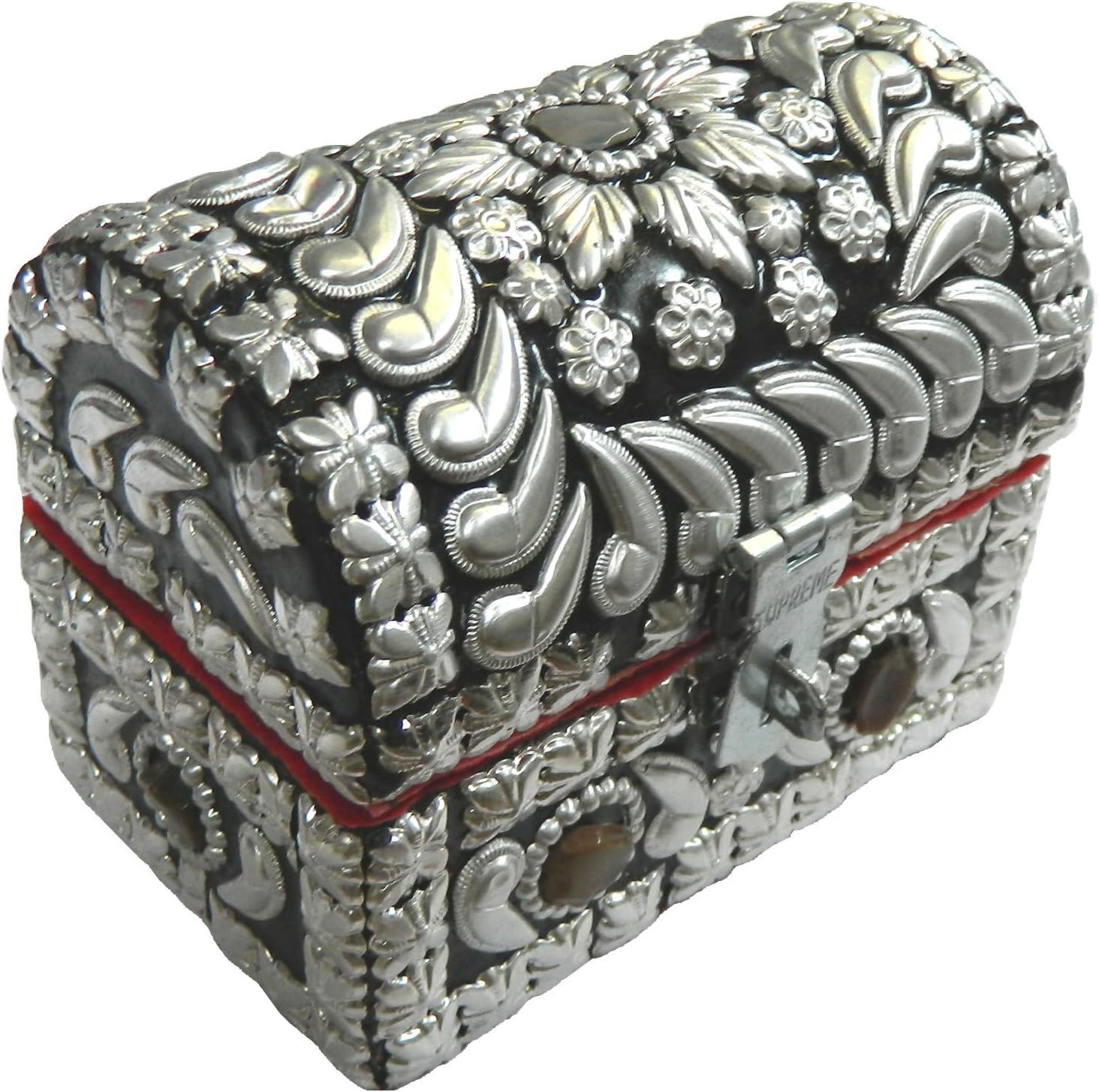 Cofre pirata plateado brillante 10 x 6,5 x 8 cm piedras de ágata almacenamiento caja