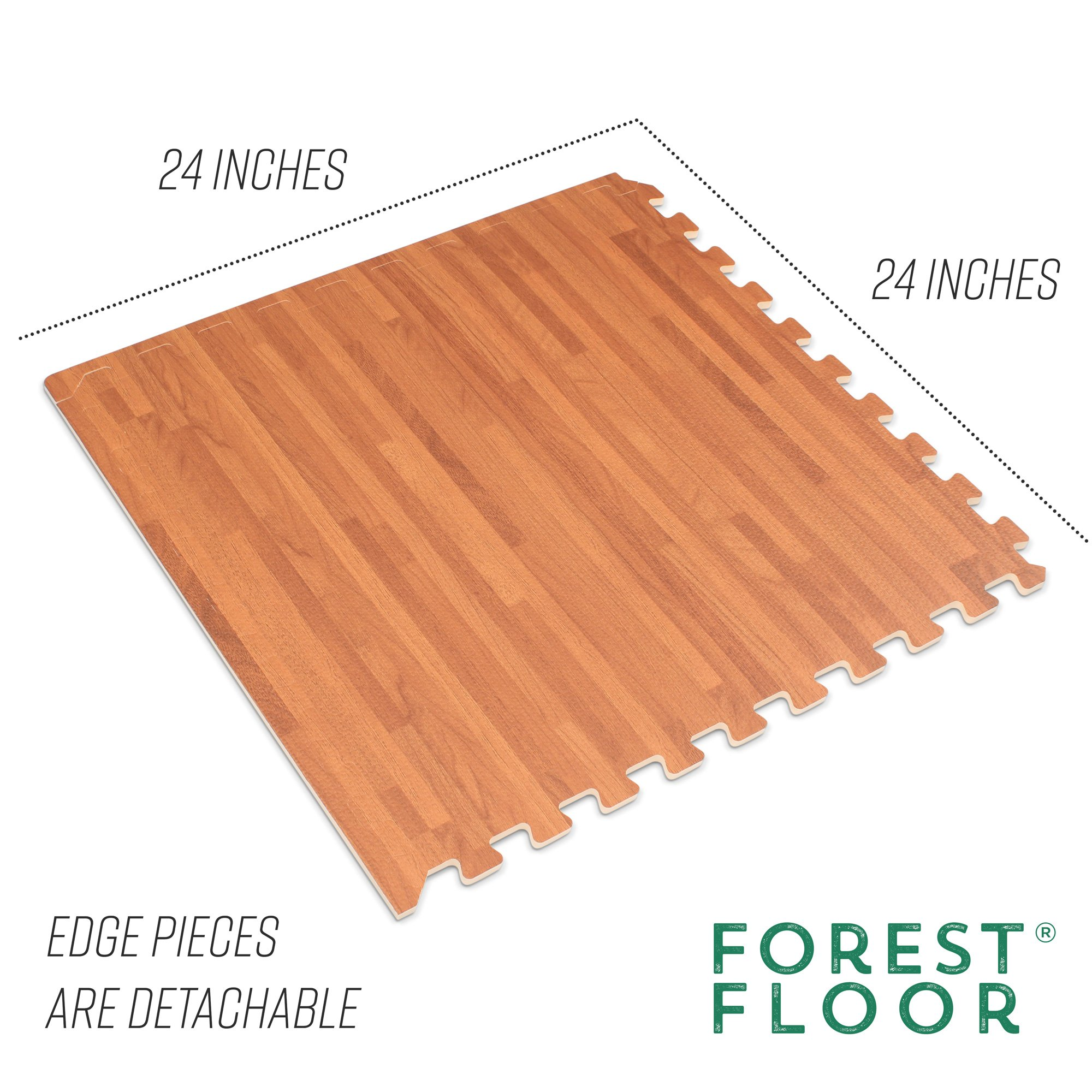 Forest Floor 3/8'' Thick Printed Wood Grain Interlocking Foam Floor Mats, 16 Sq Ft (4 Tiles), Mahogany by Forest Floor (Image #4)