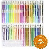 Ensemble de 48 stylos à gel - Conçus pour le coloriage pour adultes : pointe pour les détails compliqués, garantis sans bavure ni erreur. Nouvelle technologie d'encre à longue durée 100% garantis