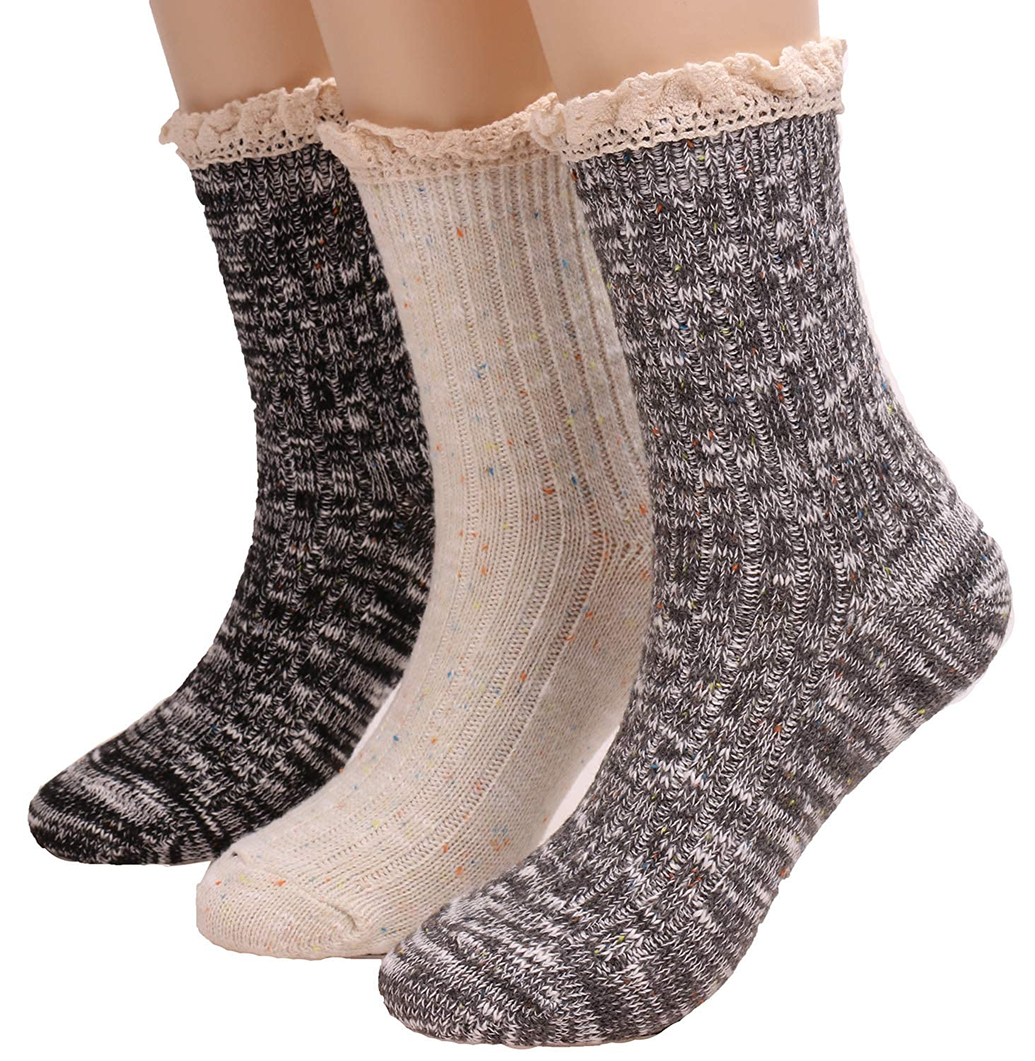 90ebccf57f52 3 Pairs Womens Thick Warm Cotton Knit Boot Socks With Lace Trim W29 ...