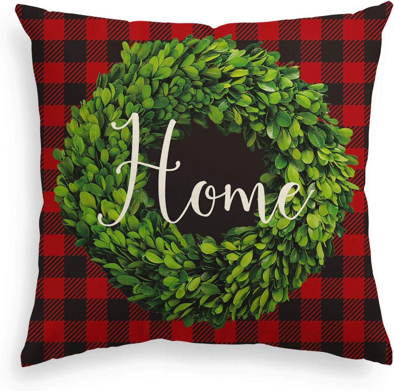 AVOIN Christmas Buffalo Check Plaid Boxwood Wreath Home Throw Pillow Cover, 18 x 18 Inch Winter Farmhouse Cushion Case Decoration for Sofa Couch