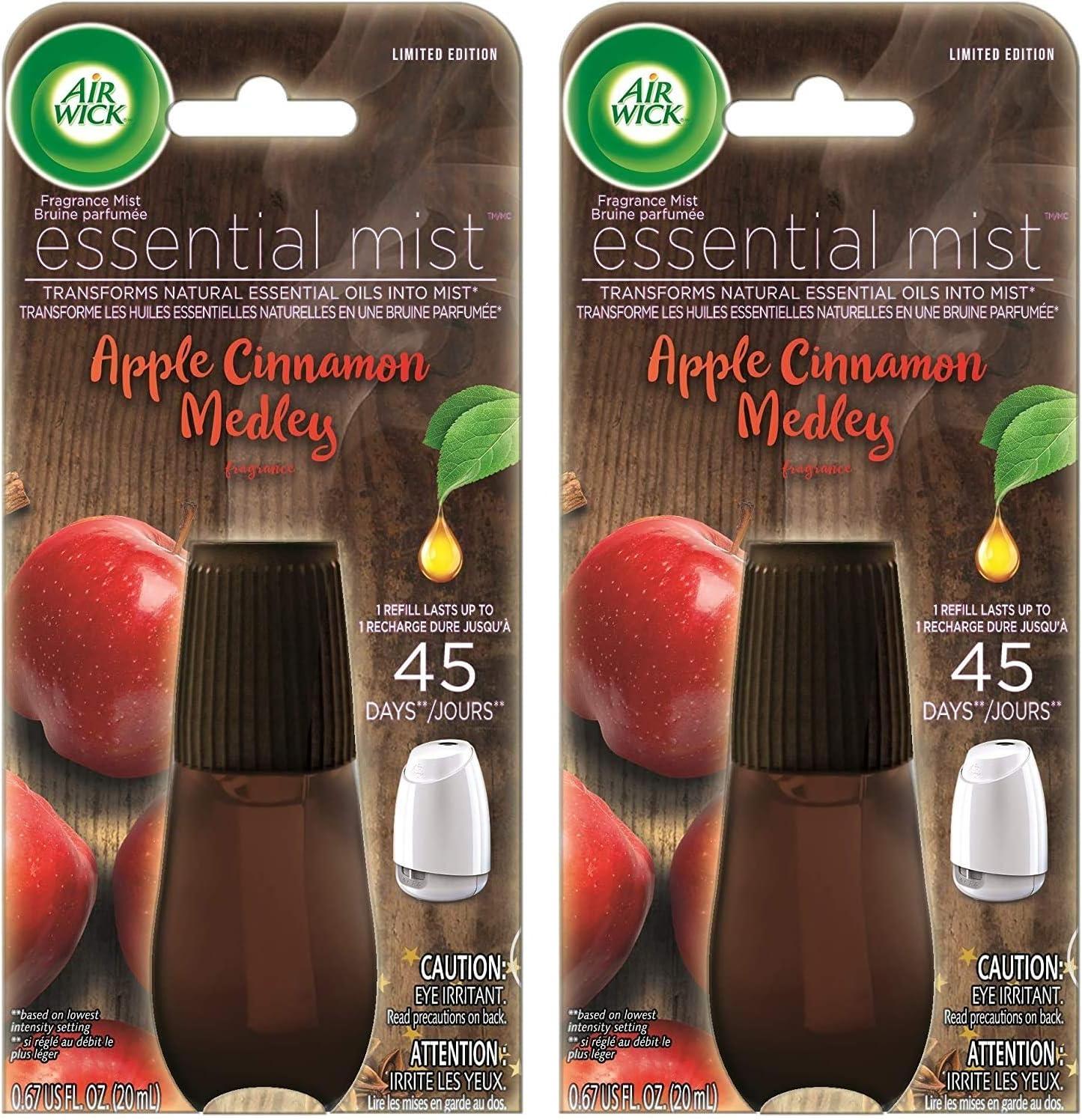 Air Wick Essential Mist Air Freshener Refill - Apple Cinnamon Medley - Net Wt. 0.67 FL OZ (20 mL) Per Refill - Pack of 2 Refills