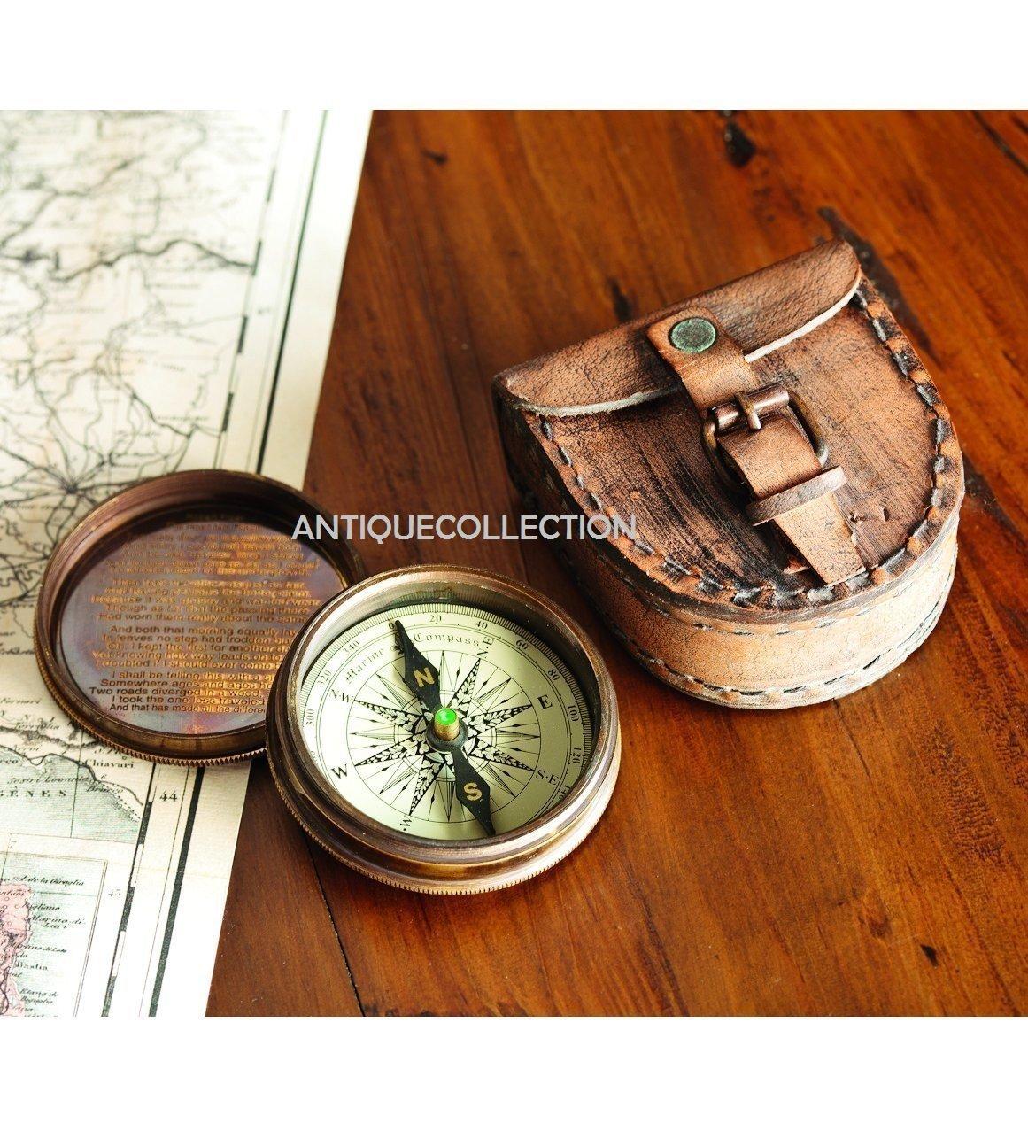 antiquecollectionアンティーク真鍮詩コンパス、レザーケース   B07BMVS6M5