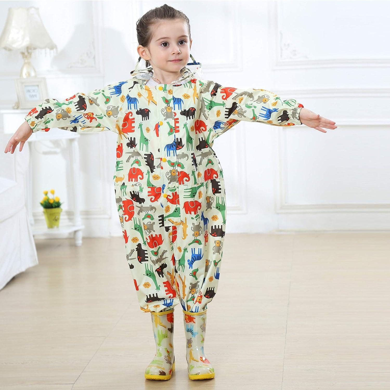 Kids Raincoat Hooded Rainwear Lightweight Puddle Suits Boys Girls One Piece Waterproof Rainsuit Animals Pattern Portable Breathable PVC Transparent Hat Brim Zipper Hiking Unisex 1-7 Years