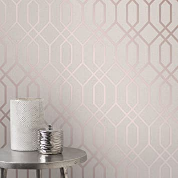 Quartz Treillis Geometrique Papier Peint Beige Et Or Rose Fine Decor