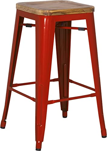 New Pacific Direct Metropolis Backless Counter Stool 26 Wood Seat,Indoor Outdoor Ready,Red,Set of 4