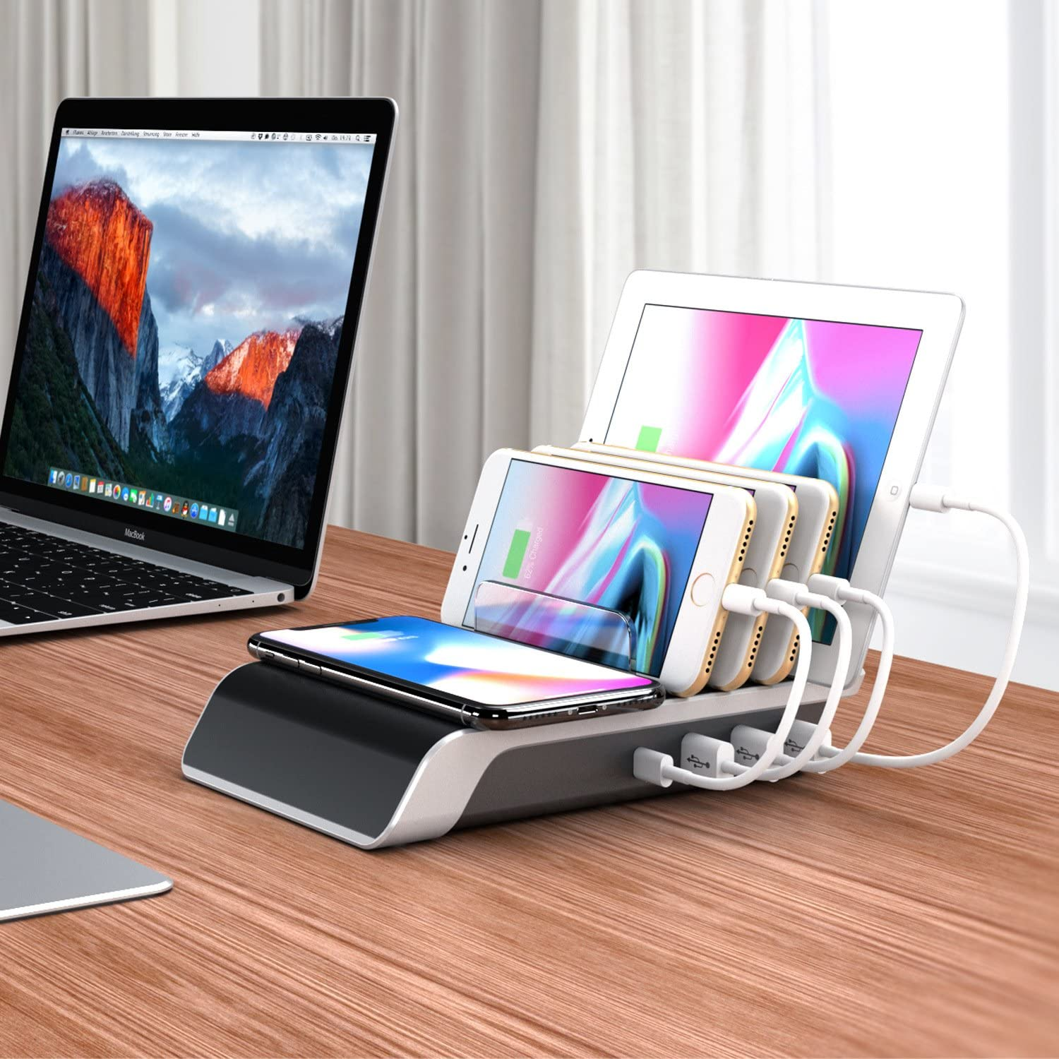 one QC 3.0 Charger and Four Smart Charger for iPhone X//8 Multi Port USB Charging Station,LDH 6 Port Mushroom Lamp QC3.0 Charger iPad,S8,and More one 2.0A Smart Charger for Mushroom Shape Desk lamp