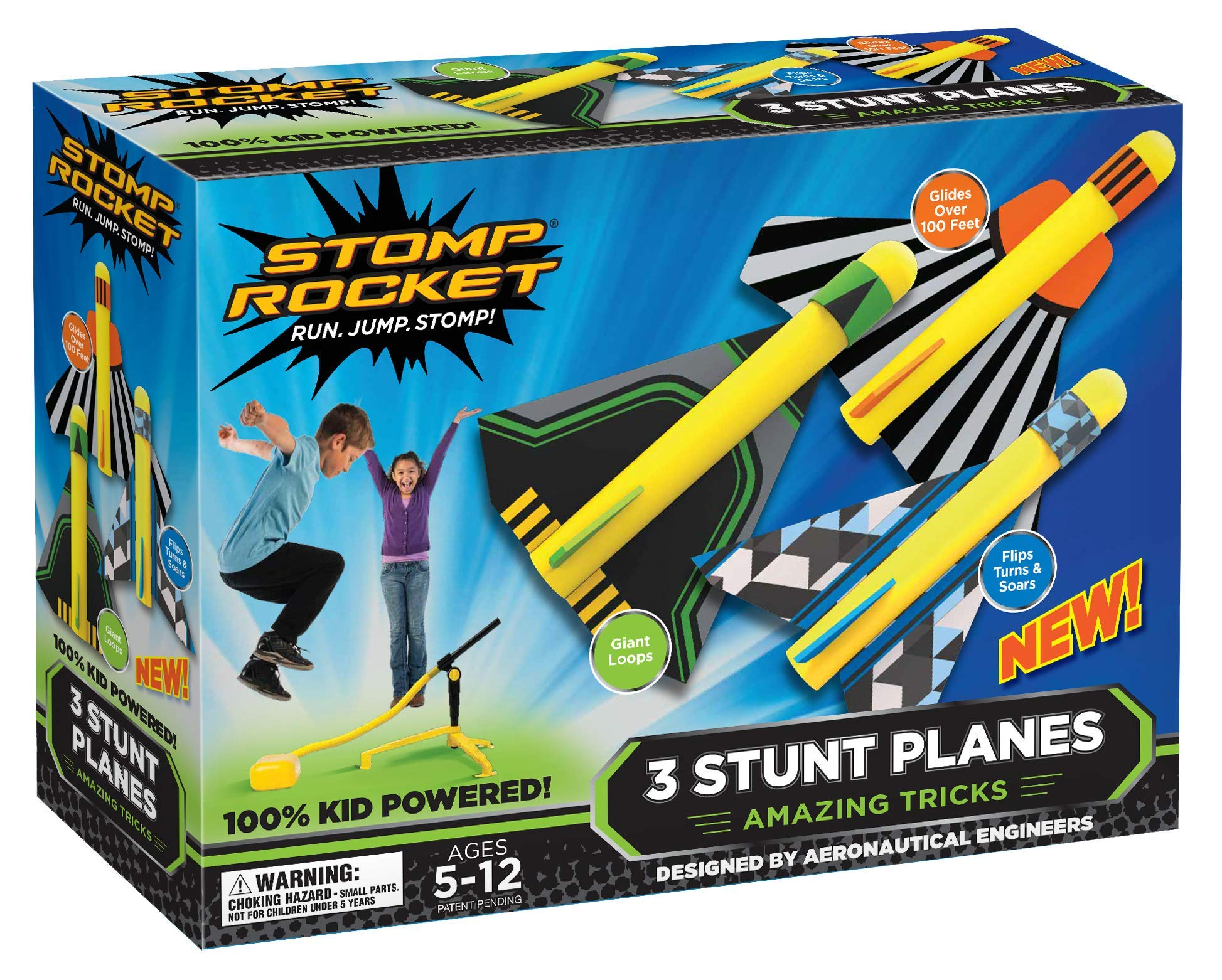 Stomp Rocket Stunt Planes - 3 Foam Plane Toys for Boys and Girls - Outdoor Rocket Toy Gift for Ages 5 (6, 7, 8) and Up (Renewed) by Stomp Rocket