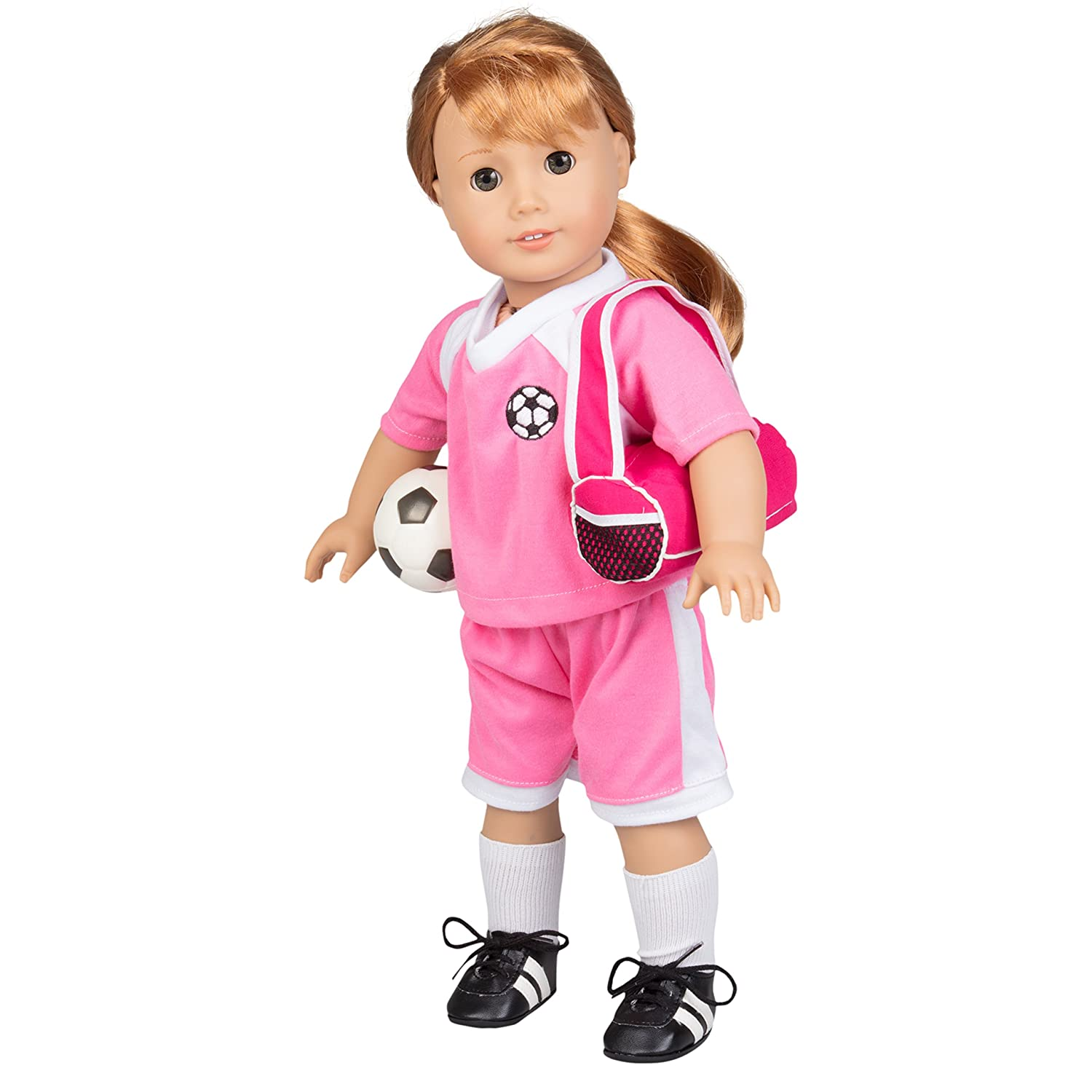 Sports Bag and Ball Socks Dress Along Dolly Soccer Outfit for American Girl and 18 Dolls Cleats Shirt 6 pc Clothes Set w Shorts