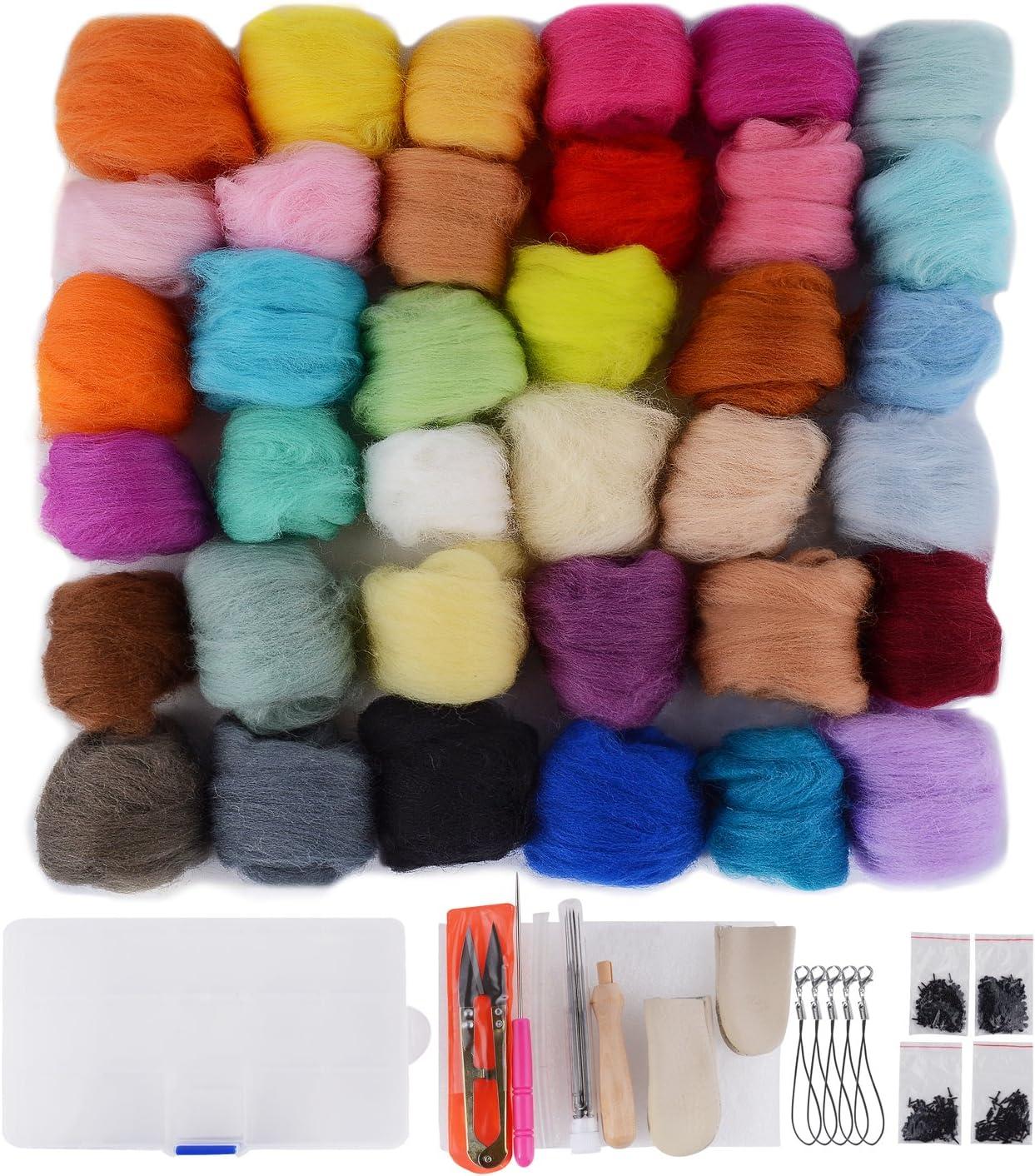 13 PCS Wool Felting Kit Needle Felting Starter Kit Felting Supplies for Needle Felting Needle Felting Kit 3 Colors Wool Roving for Needle Felting 50g//Color