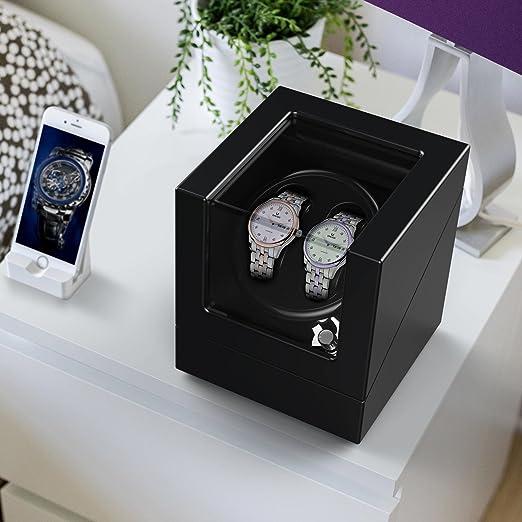 Estuche bobinadora para relojes, cargador para relojes automáticos, en madera con acabado piano, propulsado por motor japonés.: Amazon.es: Hogar