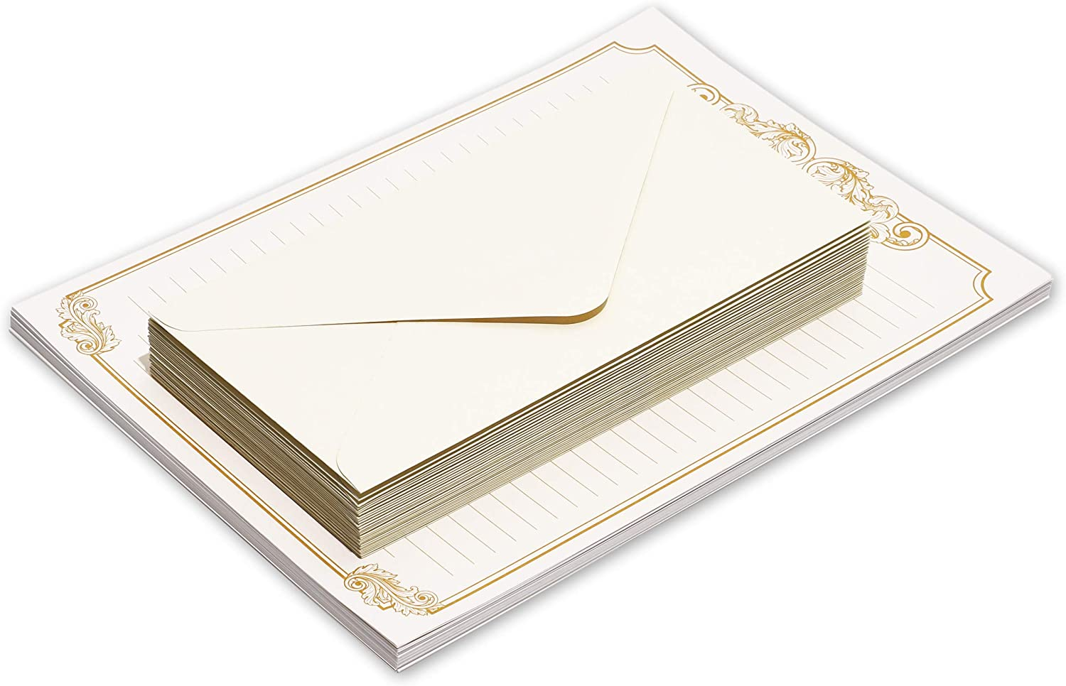 This is an image of a stationary paper with envelopes above it.
