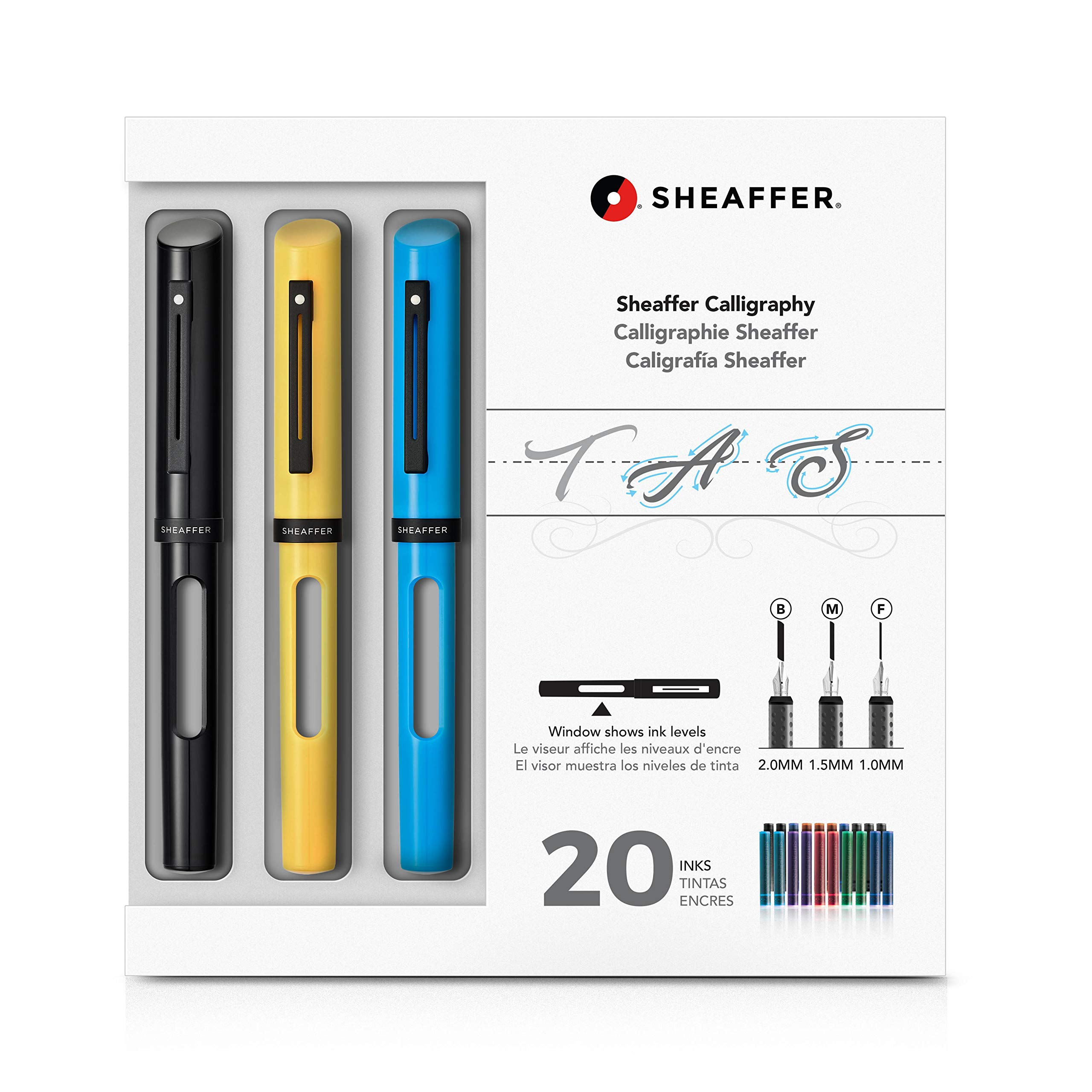 Sheaffer Calligraphy Maxi Kit with Black, Yellow, and Blue Pens and Assorted Nibs and Inks by Sheaffer
